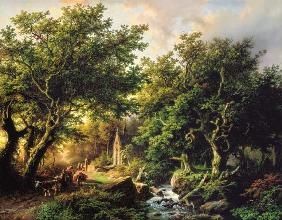 Koekkoek, Barend Cornelisz. : A Wooded landscape with a ...