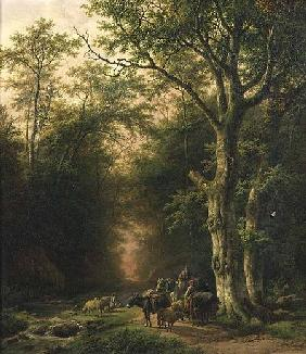 Koekkoek, Barend Cornelisz. : Wooded Landscape with peas...