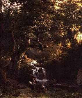 Koekkoek, Barend Cornelisz. : The Wooded Stream (fishing...