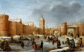 Skaters and Kolf Players Outside the City Walls of Kampen