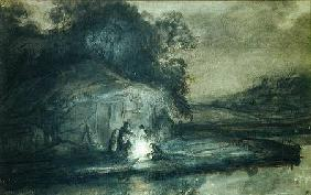 Nocturnal landscape with a river and shepherds