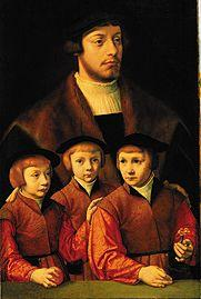 Portrait of a man with his three sons