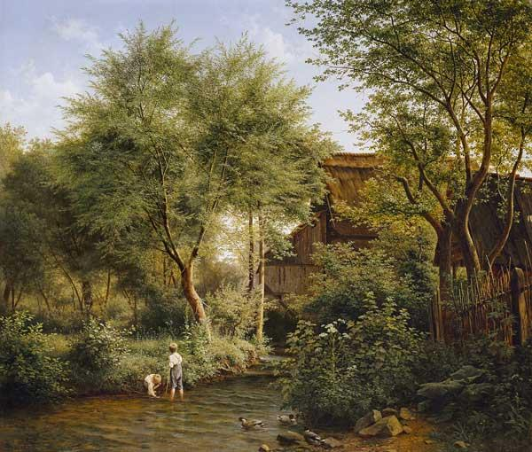 Boys in the village brook.