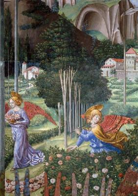 Angel gathering flowers in a heavenly landscape, detail from the Journey of the Magi cycle in the ch