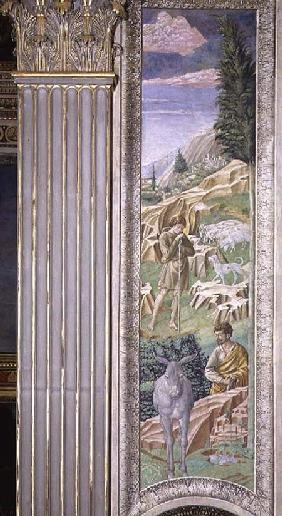 Shepherd and his flock, panel alongside the right wall of the Journey of the Magi cycle in the chape
