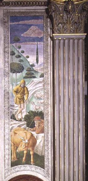 Shepherd and herdsman, panel alongside the left wall of the Journey of the Magi cycle in the chapel
