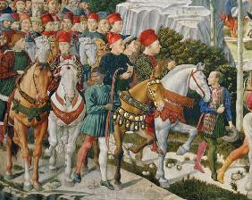 Galeazzo Maria Sforza, Duke of Milan (1444-76), extreme left, on a brown horse and Sigismondo Pandol