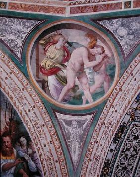The Expulsion of Adam and Eve, from the pendentive of the dome
