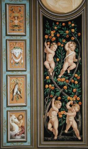 Fresco of Cupids from the Church of St. Ambroglio, Milan, from 'Palaces and Churches in Italy Painte