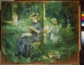 Young woman in the garden doing needlework