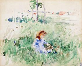 Young Girl Seated on the Lawn