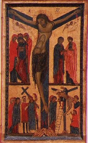 The Crucifixion with Holy women, mourners, Christ on the Road to Calvary and the Deposition, right p