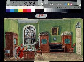 Stage design for the theatre play Pasukhin's death by M.  Saltykow-Schtschedrin