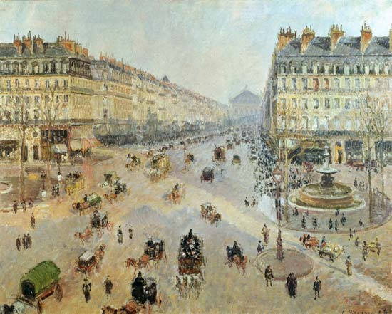 The avenue de l 39 opera paris camille pissarro as art print or hand painted oil - Bureau de change avenue de l opera ...