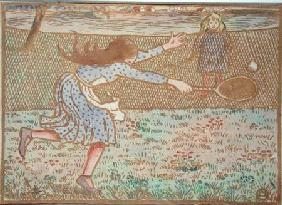 Girls Playing Tennis, from 'Woodcuts in Line and Colours'