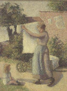 Woman Hanging up the Washing