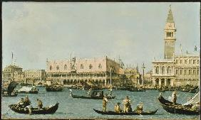 Venice, doge palace and Marcusplatz of the Bacino di San Marco.