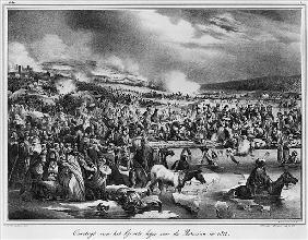 Crossing the Berezina on November 1812; engraved by Desguerrois (19th century)
