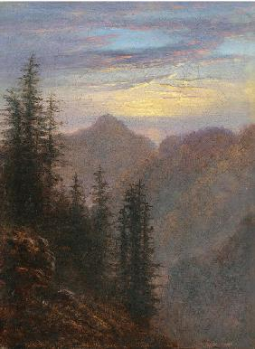Carus, Carl Gustav : Mountain landscape at dusk