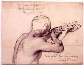 An Arab with a Musket, study for 'The Swooping Terror of the Desert' cil on