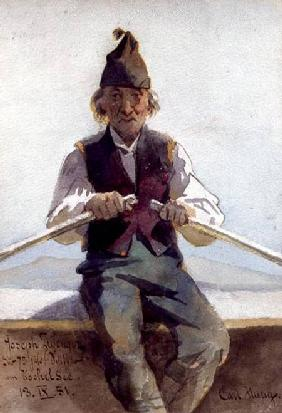 Joseph Zwenger in a Rowing Boat, Bavarian Highlands