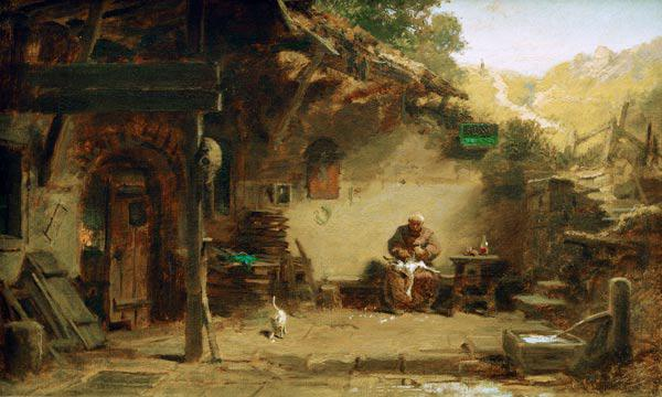 Old Monk Plucking Goose / C.Spitzweg