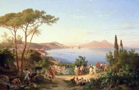 Bay of Naples with Dancing Italians, c.1850 (oil on canvas)