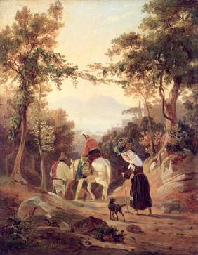 Italian Landscape with Peasants, c.1845 (oil on wood)