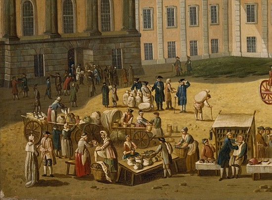 market in the alter markt potsdam 1772 carl christian baron as art print or hand painted oil. Black Bedroom Furniture Sets. Home Design Ideas