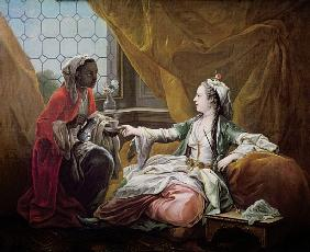 Sultana being offered coffee by a servant