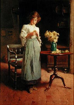 Girl in a cottage by a table and chair