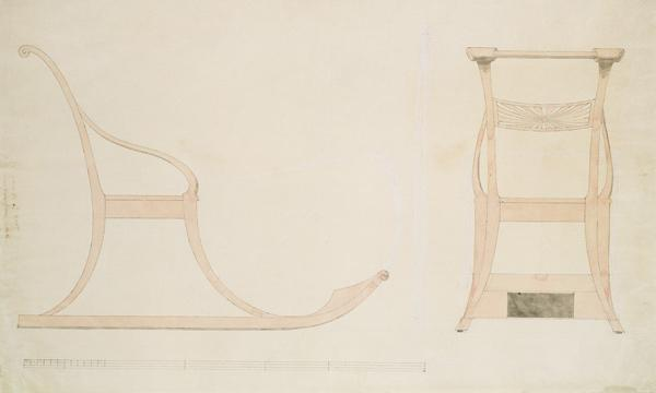 Chair for a Sleigh (pen with reddish w/c on paper)