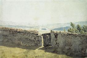 Landscape with a tumble-down wall