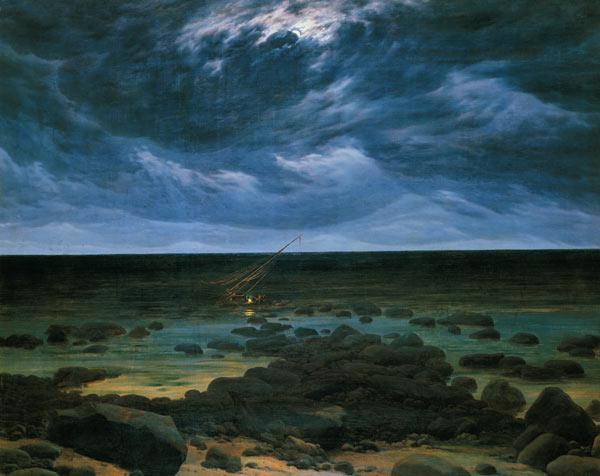 Sea coast at moonlight