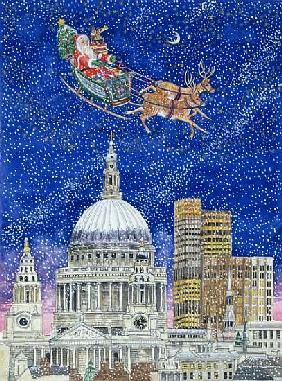 Father Christmas Flying over London (w/c on paper)