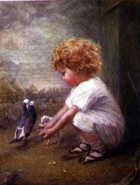 Catherine P. Brooker - Little Girl feeding Pigeons