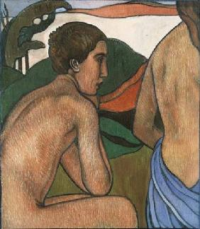 Seated Male Nude in a Landscape