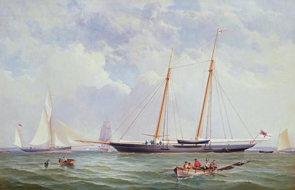 A Portrait of the 110 Ton Royal Yacht Squadron Schooner 'Viking' off the Needles