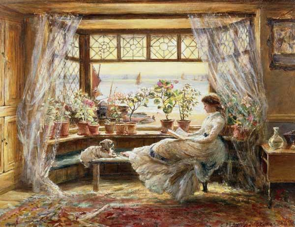 Lewis, Charles James : Reading by the Window, Has...