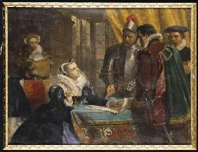 The forced abdication of the queen Maria of Scotland in the castle Lochleven on July 25th, 1567