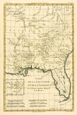 Louisiana and Florida, from 'Atlas de Toutes les Parties Connues du Globe Terrestre' by Guillaume Ra