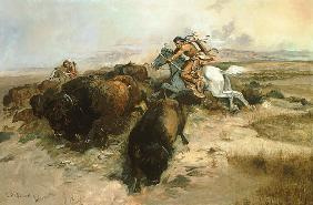 Russell, Charles Marion : Buffalo Hunt