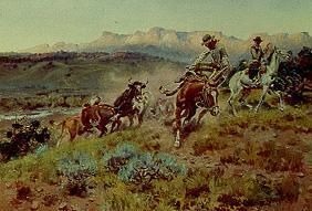 Cowboys when capturing a herd