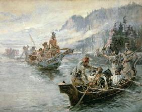 Lewis & Clark on the Lower Columbia River, 1905 (oil on canvas)