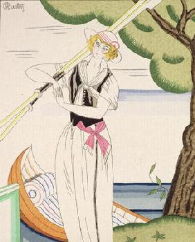 Woman alighting from her boat (colour litho)