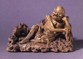 The Emaciated Figure of Lohan, holding a rosary, Qing dynasty