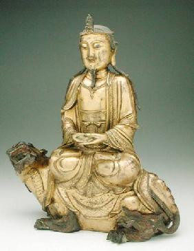 Figure of a Bodhisattva seated on a kylin, Yuan or early Ming dynasty