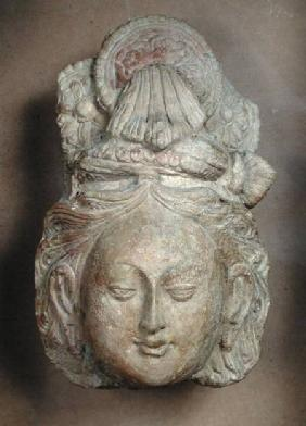 Head of a Bodhisattva with an elaborate hairstyle
