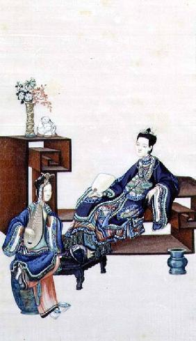 Lady Reclining with a Servant Playing a Musical Instrument