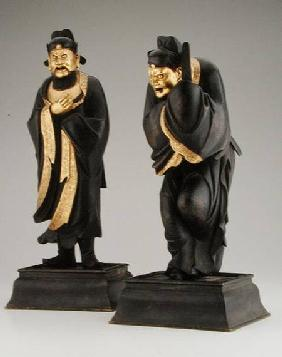 Pair of Taoist officials, Yuan or early Ming dynasty rcel